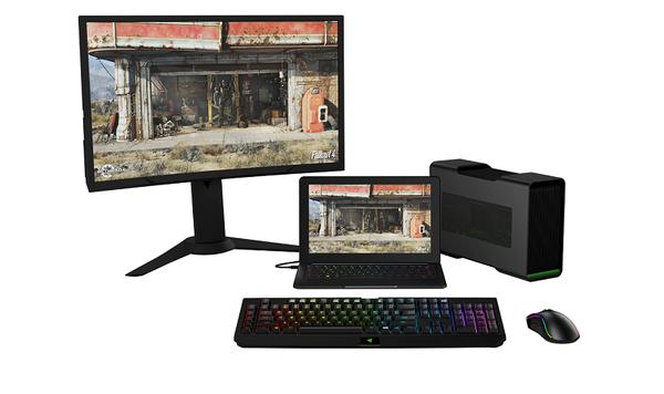 2. 只要擁有 Razer Core 強化後的繪圖處理能力及與其他週邊產品簡易連接的擴充性,就能輕鬆恣意駕馭猶如完整桌機同樣的強大效能遊戲體驗