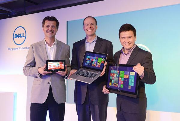 【圖一】戴爾平板電腦與Chrome產品 副總裁 暨 總經理Neil Hand、戴爾全球副總裁 暨 個人電腦產品事業群總經理Sam Burd、戴爾個人消費電腦事業群副總裁Raymond Wah(由左至右)於2014 #DellVenue戴爾創藝空間介紹多款Dell全球熱銷機種